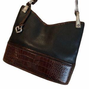 Brighton Vintage Two-Tone Leather Bucket Bag